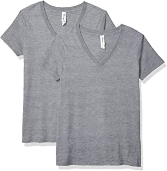 Marky G Apparel 女式 T 恤 Heather Grey Inv Stripe Large
