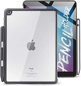 TineeOwl iPad 9.7 保护套带铅笔架,混合透明后盖,纤薄薄,2018/2017 9.7 英寸,兼容智能保护套(黑色/透明)