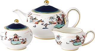 Wedgwood Wonderlust 茶壶,可以装糖和奶油15盎司(约425.24克),5盎司(约141.75克)糖,5盎司(约141.75克)奶精,蓝/白