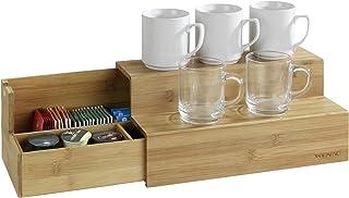 Wenko Bamboo Steps For 咖啡和茶厨房支架带抽屉,辫子,15 x 33 x 17.5 cm