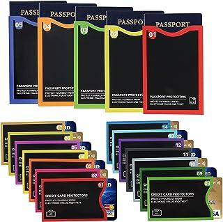 19 个 RFID 屏蔽套(14 个信用卡保护套和 5 个护照夹),用于身份盗保护 Color Numbered