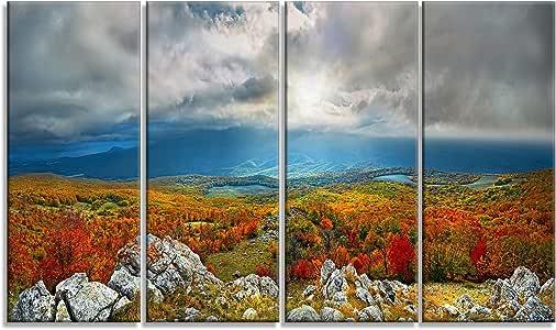 Designart Crimean Mountains L &Scape 照片金属墙艺术 - MT8162 28'' Hx48'' Wx1'' D 4P MT8162-271
