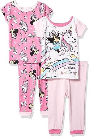 Disney 迪士尼女童米妮 4 件套棉质睡衣套装,独角兽梦幻 2,18M