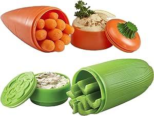 "Hutzler 黄色胡椒储藏盒和橙色胡椒储藏盒 橙色/绿色 carrot: 2.6"" diameter, 7"" height; celery: 2.8"" diameter, 6"" height 12-91/12-92"