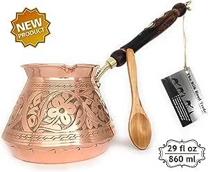 丝绸公路贸易 - ACI 系列 - *厚实的锤锻和雕刻铜土耳其希腊阿拉伯咖啡壶/咖啡机Cezve Ibrik Briki 带木柄 铜色 XX-L