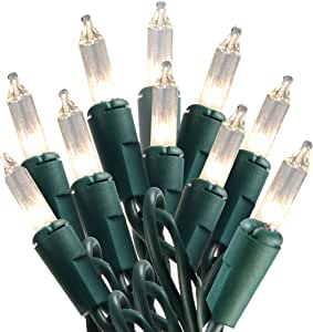 Joiedomi 100 支透明*线圣诞灯套装,暖白色灯光,适用于室内或室外圣诞装饰