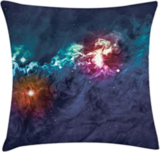 Space Throw Pillow Cushion Cover by Ambesonne, Galactic Glamour Elegance on Milky Way on Colorful Alluring Cosmos Lights Display, Decorative Square Accent Pillow Case, 16 X 16 Inches, Magenta Blue