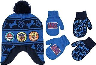 Nickelodeon 小男孩狗狗巡逻队人物帽和 2 双手套或手套防寒套装,适合 2-7 岁儿童