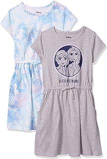 Amazon Brand - 斑点斑马女孩 Disney 针织短袖收腰连衣裙 2 件套