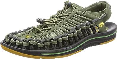 KEEN 男式 溯溪鞋 沙滩鞋 凉鞋 涉水鞋 绳子鞋 城市休闲潮鞋 M'S UNEEK FLAT 1016900 Deep lichen/Golden yellow-(青苔绿) 40