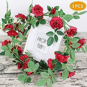 人造象牙花环,绿色模拟花人造植物藤/家居装饰 红色 unknown