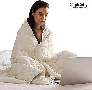 Simple Being 加重毯 3.0,*申请中 9 层设计,*佳成人加厚舒适毯,清凉棉防*玻璃珠,高透气性 奶油色 48x72 15lbs