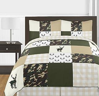 Sweet Jojo Designs *和米色小鹿水牛格子丛林迷彩男孩普通/女王青少年床上用品被子套装 - 3 件套 - 乡村迷彩