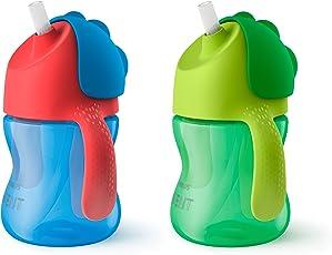 Philips 飞利浦 新安怡吸管杯 7盎司(约200ml)2只装 蓝色/绿色 SCF790/21