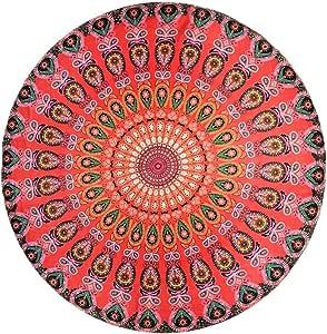 Momsbabe 沙滩垫毛巾圆形挂毯野餐瑜伽垫薄款女式 SHAWL 沙发垫波西米亚速干毛毯 孔雀绿 大