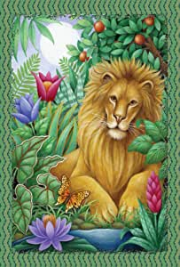Toland Home Garden Lounging Lion 28 x 40 Inch Decorative Colorful Tropical Jungle Animal Flower House Flag