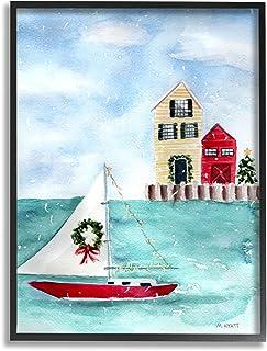 Stupell Industries 假日帆船花环航海海滩圣诞节,由 Melissa Hyatt LLC 设计,黑色框架墙艺术,24 x 30,蓝色