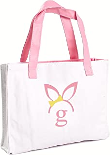 Cathy's Concepts Girls Easter Bunny Canvas Tote Bag, Monogrammed Letter G