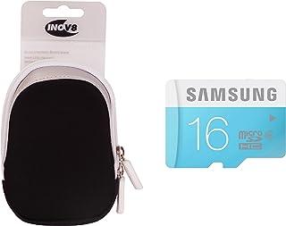 Inov8 紧凑相机套装包括 Inov8 手机壳和三星 16GB 标准 Micro SDHC Class 6 存储卡X-AB1021-902 氯丁橡胶盒 白色