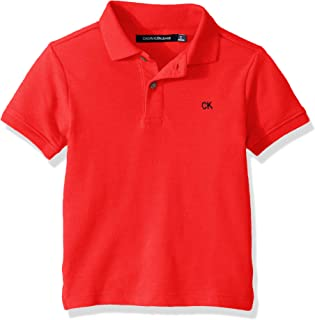 Calvin Klein 男童纯色珠地布 Polo 衫 赛车红 4T