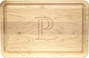 """CHUBBCO 220-P Thick Carving Board, 15-Inch by 24-Inch by 1.25-Inch, Monogrammed """"P"""", Maple"""