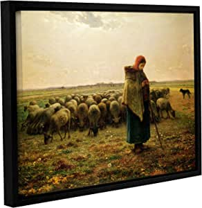 ArtWall Jean Francois Millet's Sheperdess with Her Flock Gallery Wrapped Floater Framed Canvas Art, 24 X 32""
