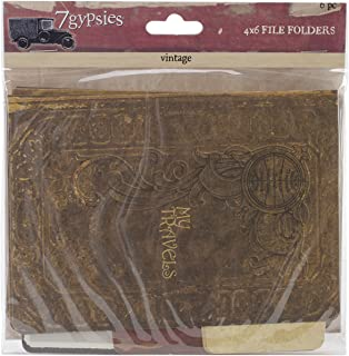 7 张吉普赛赛文蒂复古文件夹,10.16 x 15.24 厘米,两面都印有,6 个装