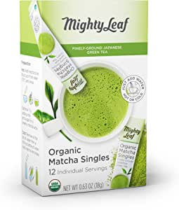 Mighty Leaf Organic Matcha Green Tea Singles, 12 Individual Servings Green Tea Matcha Powder in Individual, Single-Serve Packets, for Use in Water Bottles, Makes a Delicious Iced Tea
