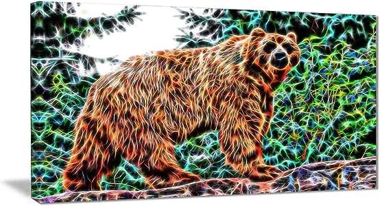 "Digital Art PT2434""Brown Bear"" 动物帆布艺术印刷品"