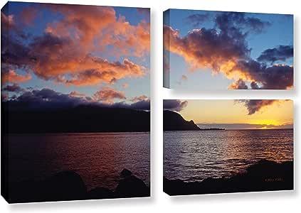 "ArtWall Kathy Yates""Last Light Over Bali Hai""3 件套画廊包装油画艺术品 24X36 0yat025g2436w"