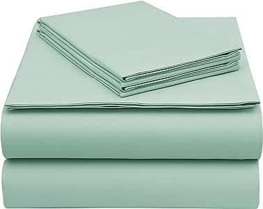 EnvioHome GOTS 认证的有机棉床单套装 水绿色 加州King size
