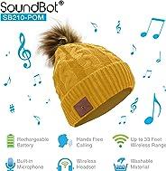 SoundBot – SB210 HD 立体声蓝牙 4.1 无线智能 无檐便帽耳机 音乐 针织 耳机扬声器 帽子扬声器 帽子,内置麦克风SB210  POM/Mustard Yellow