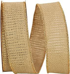 Reliant Ribbon 3222M-577-09F 粗麻麻线金色边缘丝带 灰*