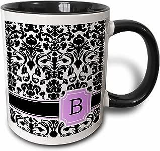 3drose inspirationzstore monograms–个人首 B 字母粉色黑色和白色大马士革图案少女时尚个性化字母–马克杯 黑色/白色 11 oz