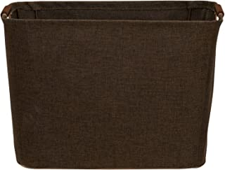 Household Essentials Medium Tapered Bin with Wood Handles, Coffee Linen Cocoa 中