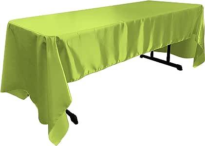 "LA Linen Bridal 缎布方形桌布 152.4 x 144厘米。 美国制造 莱姆绿 60 x 144"" TCbridal60X144_LimeB84"