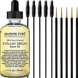 Majestic Pure Castor 油睫毛精华,纯自然,促进自然眉毛和睫毛生长,免费赠送睫毛刷和眼线笔涂抹剂 - 28.35 毫升