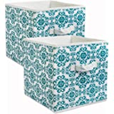 """Design Imports India Scroll Foldable Fabric Storage Containers (Set of 2), 11 x 11 x 11"""", Teal"""