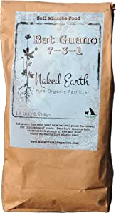 Naked Earth Organics Bat Guano 7-3-1 Pure Organic Fertilizer, 1.5-Pound