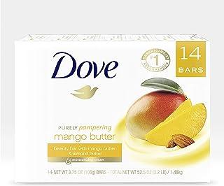 Dove 多芬纯粹呵护*吧沐浴皂,芒果油滋润干燥皮肤,比条皂更滋润,15 盎司(约 425.2 毫升),14 件装