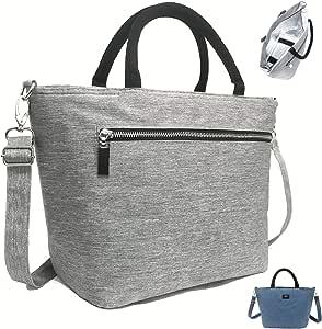 SEEKERS COVE 女式午餐包 带肩带 适合上班学校 | 优质 8L 午餐手提包 可调节肩带 5mm 厚保温 | 钱包式午餐包带侧袋 | 杂灰色 大