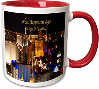 3drose Las Vegas–WHAT happens IN Vegas stays IN Vegas–马克杯 红色 11-oz Two-Tone Red Mug