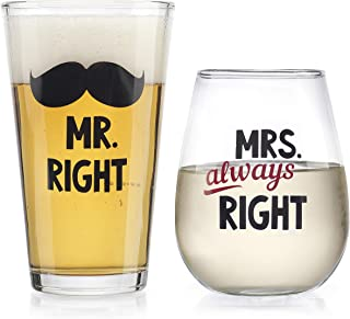 Elegant Home 个性化礼物两件套 Mr Right & Mrs Always Right Stemless *杯 - 独特新颖 - 恶作剧礼品。