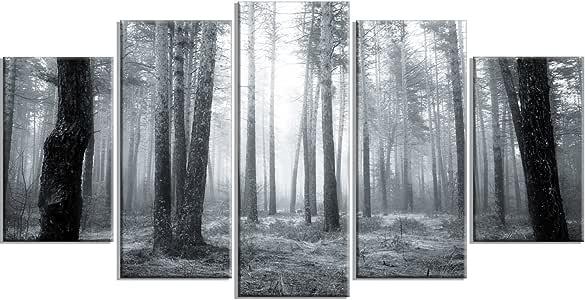 "Design Art PT14756-60-28 黑白雾森林 - 现代森林帆布墙壁艺术品 60x32"" - 5 Panels Diamond Shape PT14756-60-32-5PD"