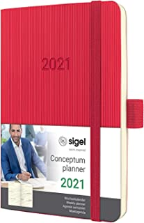 SIGEL C2135 周记日记 2021,约A6,红色,软壳 - Conceptum