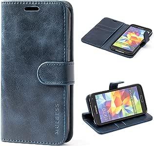 三星 Galaxy S5 手机壳,多层皮革手机壳,翻盖对开书套,钱袋钱包式手机壳带支架适用于三星 Galaxy S5 黑色 深蓝色