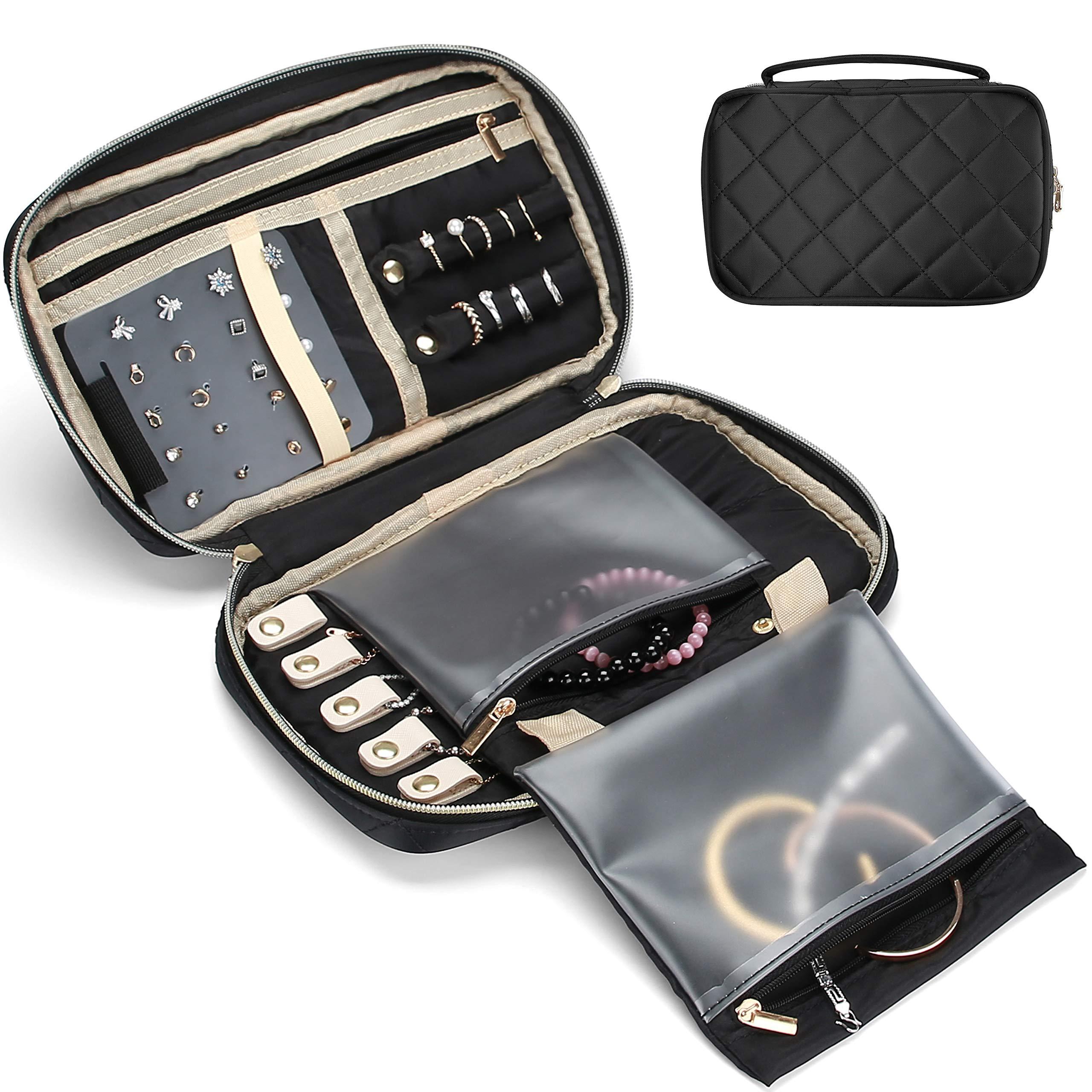 ProCase 旅行珠宝收纳盒,软垫珠宝旅行收纳袋盒适用于戒指、手链、耳环、链条、项链夹女士女孩-黑色