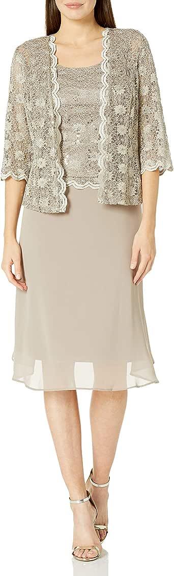 R&M Richards 女式蕾丝波浪外套连衣裙 摩卡色 10