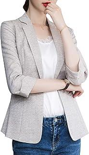 ZingineW 女式夹克带袖休闲办公室外套,带纽扣夹克和修身女式铅笔裙