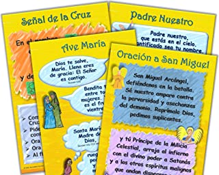 """Oraciones de Padre Nuestro, Ave María, Señal de la Cruz, San Miguel 12"""" x 18"""" Carteles para el Aula (Grupo de 4)"""